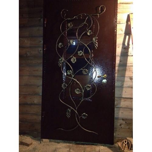 Стальная дверь со стеклопакетом вид 1