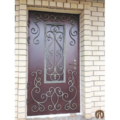 Элитные стальные двери с ковкой 1 имитация стеклопакета