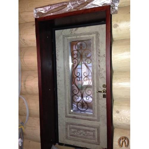 Элитная стальная дверь накладка с фрезеровкой 3 D покрашена под старину (кракелюр)