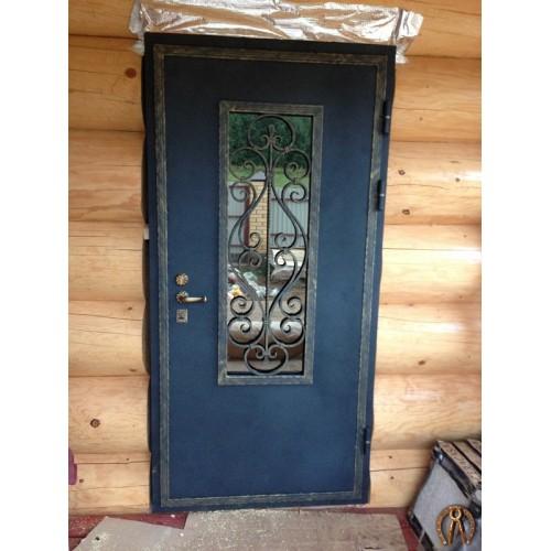 Элитная стальная дверь (цвет черный бархат-патина золото)