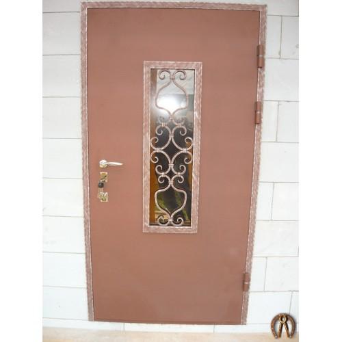 Стальная дверь со стеклопакетом (цвет коричневый бархат)