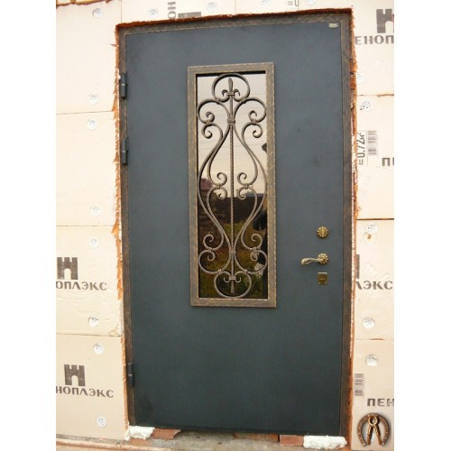 Стальная дверь со стеклопакетом (цвет черный бархат - патина медь)