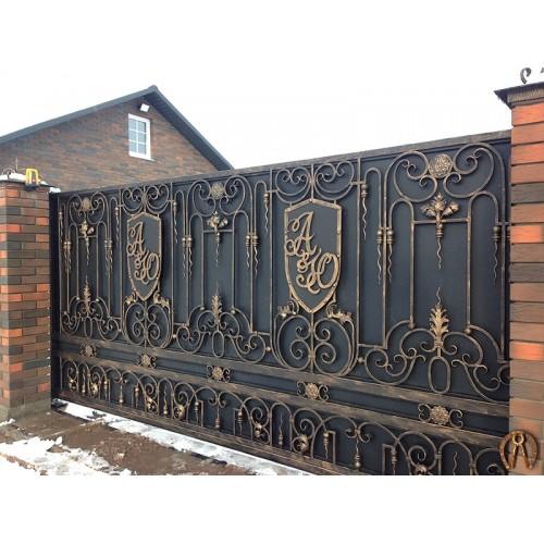 Откатные кованые ворота под заказ